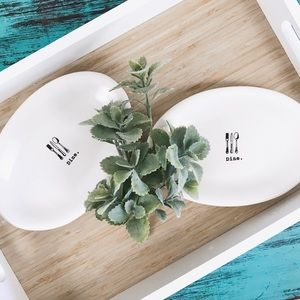 Rae Dunn   Icon Oval Plate Set of 2 Dine Thick